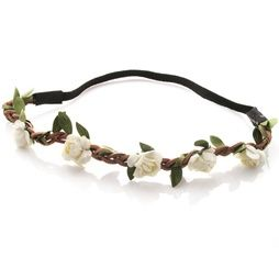 Hårband - Brunt med gröna blad & vita blommor
