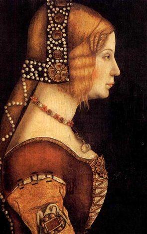 Portrait de jeune femme de profil à la coiffure ornée de perles by Bernardino dei Conti (1450-1525)