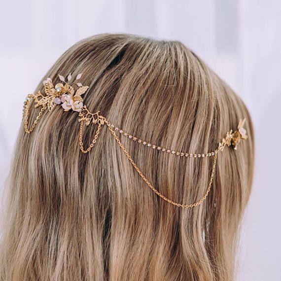 Wedding hair comb chain Crystal Hair accessories for wedding