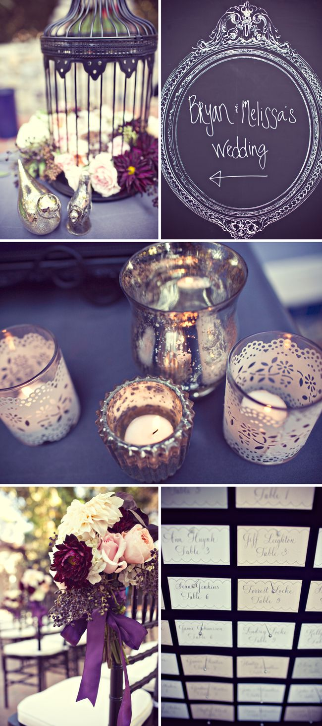LACE VOTIVES! some nice ideas with the candles, chalkboard, probably more for an outdoor wedding