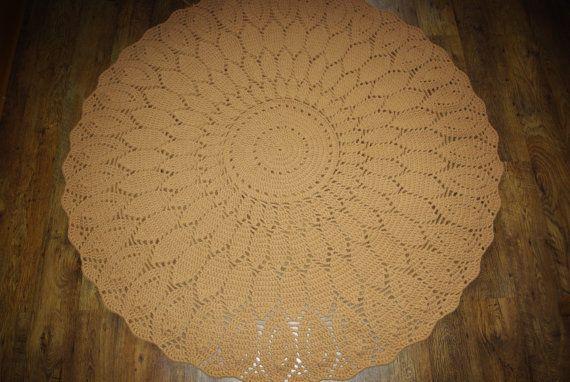 Crochet doily round rug78 ''200 cm/Crochet by AnuszkaDesign, $190.00