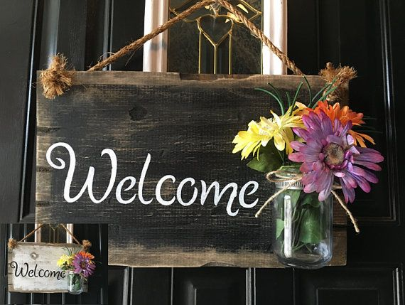 Front Door Welcome Sign Porch Rustic Wood Distressed