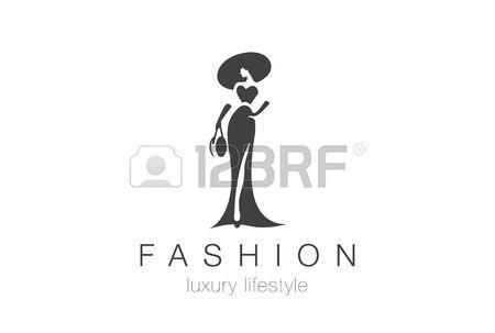 Luxury Fashion Glamour donna elegante silhouette logo modello disegno vettoriale. Lady negativi accessori gioielli spazio concetto di logo icona.