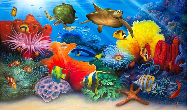 Turtles swimming in the ocean and other colorful sea life make up the subject of this paintings by artist David Miller. Descripción de davidmiller.com. He buscado esto en bing.com/images