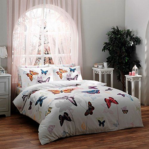 100% Turkish Cotton Ranforce Butterfly Double Full Queen Size Quilt Duvet Cover Set Bedding 4 Pcs!! Made in Turkey, Turkish Bedding Set