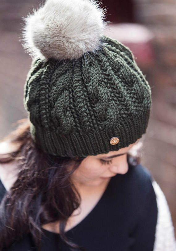 Forest Green Hand Knit Cable Hat with Faux Fur Pom Pom