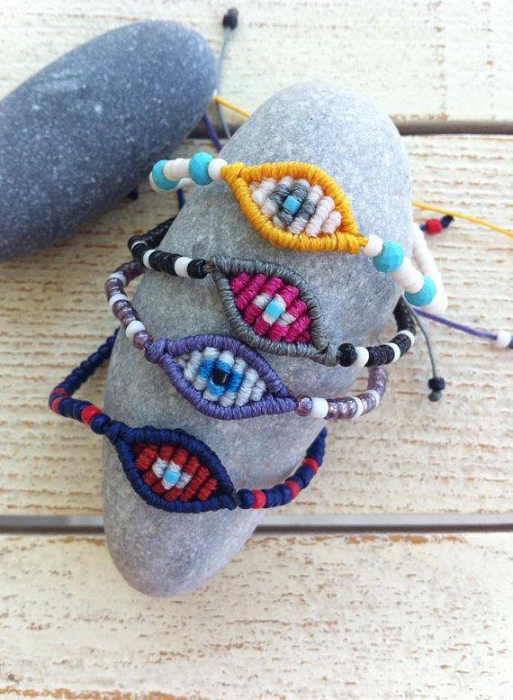 Mini evil eye macrame bracelets in fresh summer colors