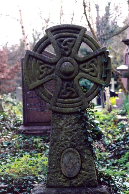 Celtic Cross in Ireland. The cross of Christ is superimposed over the pagan sun image to represent the victory of the new faith overcoming the old.