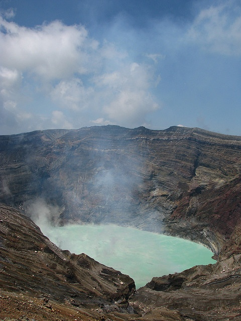 Mount Aso, is the largest active volcano in Japan, and is among the largest in the world. Aso has one of the largest calderas in the world (15.5 mi north-south, and 11 mi east-west). The caldera has a circumference of around 75 mi.