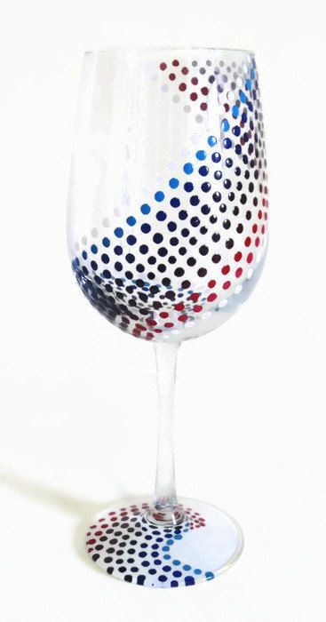 Patriotic 4th of July Summer Red White and Blue Polka Dot Hand Painted Wine Glass by LKCustomCreations