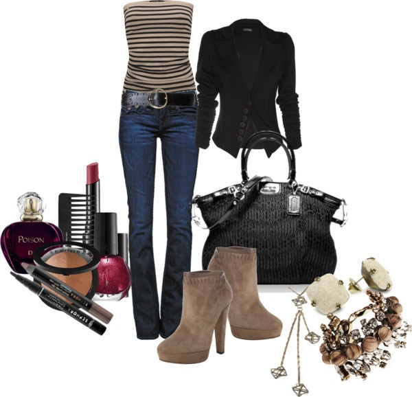 """""""Jeans and Stripes"""" by deborah-simmons on Polyvore: Fall Clothing, A Mini-Saia Jeans, Fashion Style Vintage, Fall Style, Clothing Style, Beautiful, Stripes Night, Closet Stuffers, Black Jackets"""