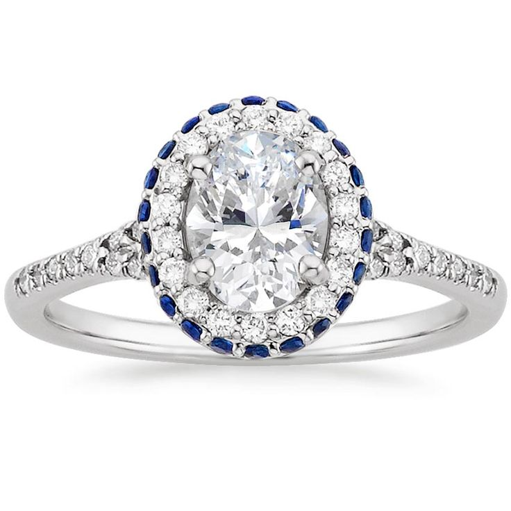 LOVE this–so unique. Definitely my favorite. Don't need a big stone with all the accents.  18K White Gold Circa Diamond Ring with Sapphire Accents from Brilliant Earth