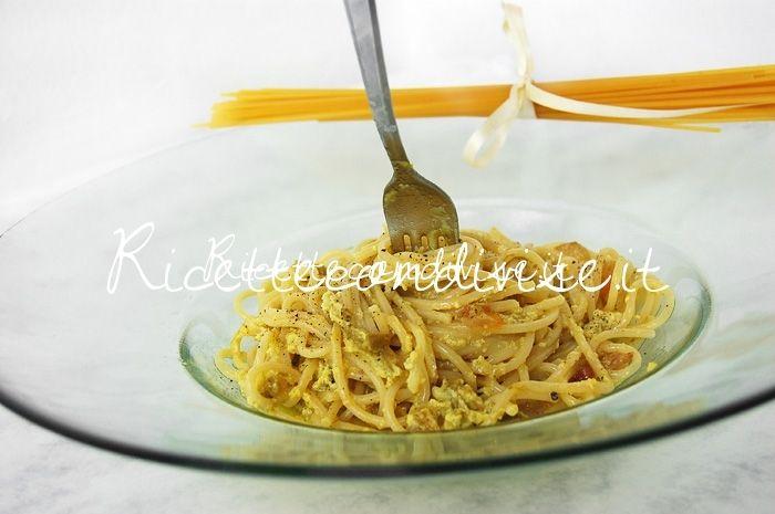 Spaghetti alla carbonara con crema di asparagi Agromonte di Dany - Ideericette