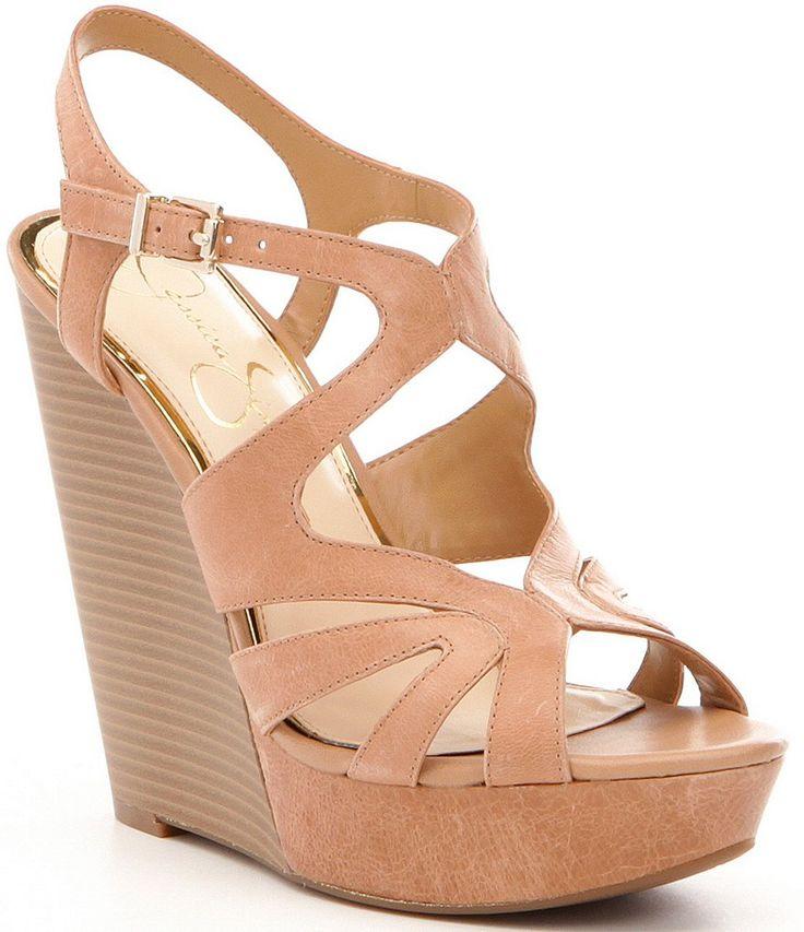 Jessica Simpson Brissah Leather Platform Wedge Sandals