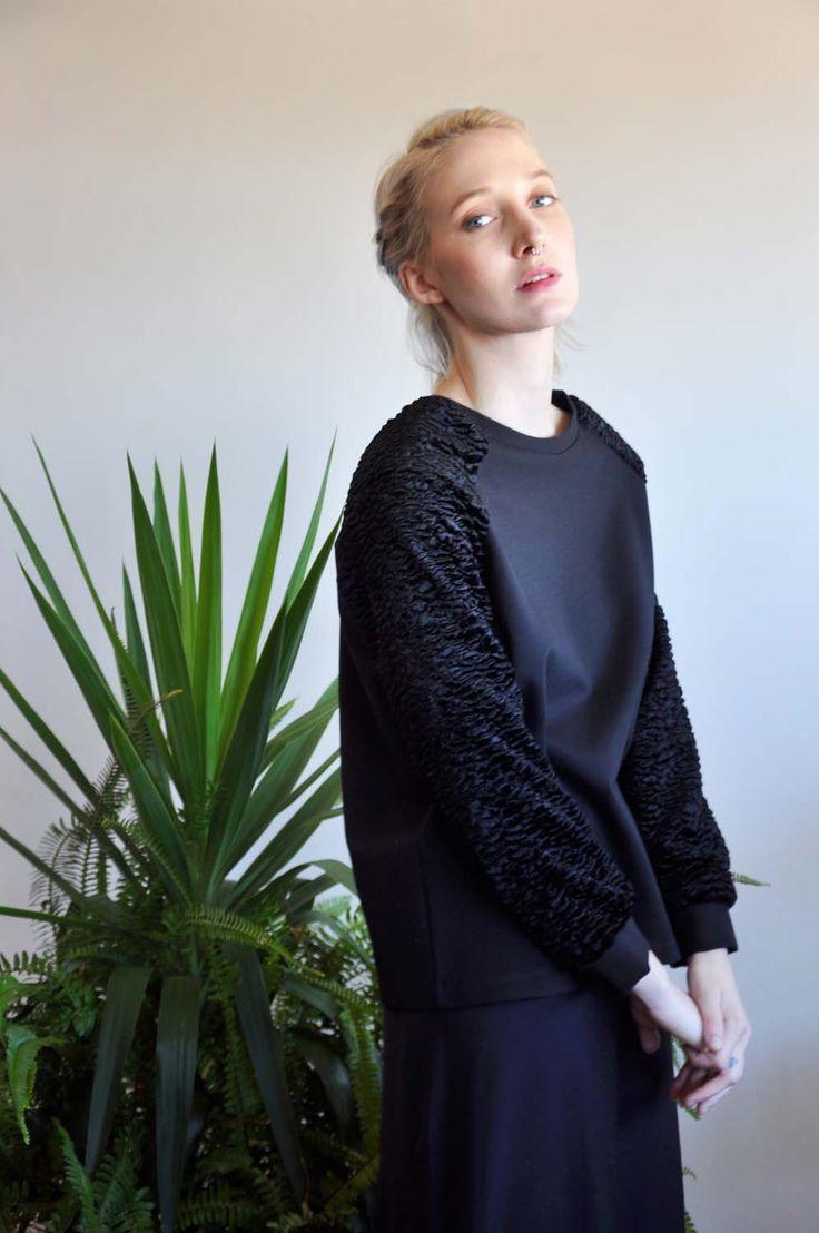 Aroma30 - Minimal chic Astrakan and jersey sweater