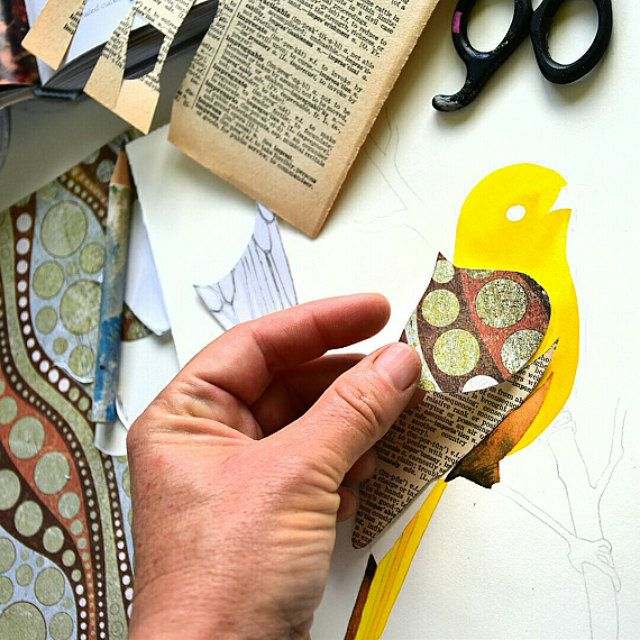 Adding collage wings to a little Mohua or Yellowhead, a New Zealand native bird.
