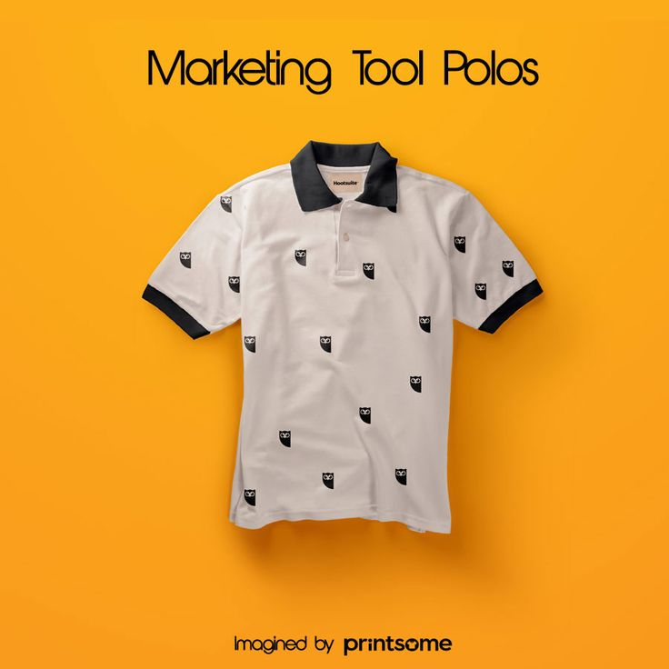 We believe that promotional t-shirts can be really cool. That's why we've designed awesome personalised polo shirts for the most famous marketing tools! #Hootsuit #polotshirt #polodesign