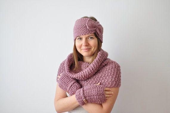 Зимний комплект красивых аксессуаров для женщин, розовый, фиолетовый снуд, повязка, варежки, перчатки без пальцев, романтический набор, лук