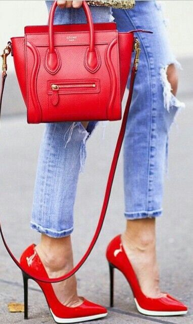 Red Celine. Is anyone else obsessed with red bags these days as well?