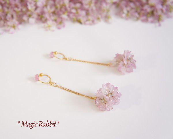 本物の桜◆さくら玉ノンホールピアス◆レジン