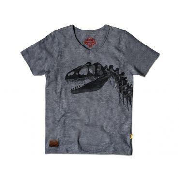 Grijs t-shirt met zwart dino skelet - Mister Monkey and Misses Butterfly - Stones and Bones - Maat 92 tem Maat 128 - Jongens - SS16