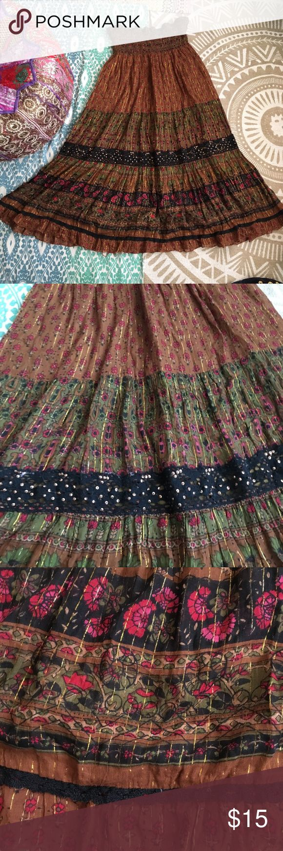 Angie tube dress sparkly tiered hippie maxi skirt Gorgeous thanksgiving colors and sparkly for parties galore! Wear as a tube dress high up with a cardigan or wear as a full length maxi skirt! So versatile and can be worn in any season! Glittery threads and sequins are abundant! in good used condition Angie Dresses Strapless