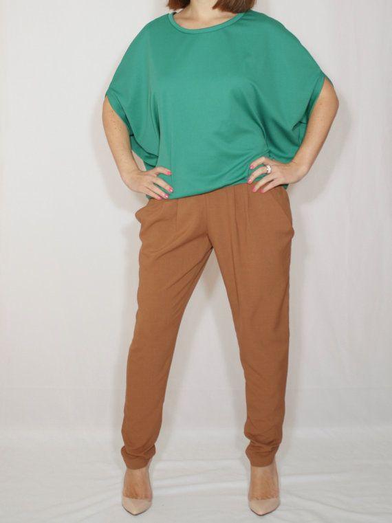 Emerald green top Loose fit sweater Batwing shirt by dresslike