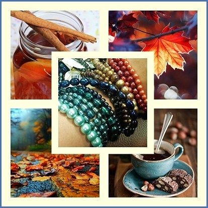 autumn inspiration with the use of pearls and shells. color combination