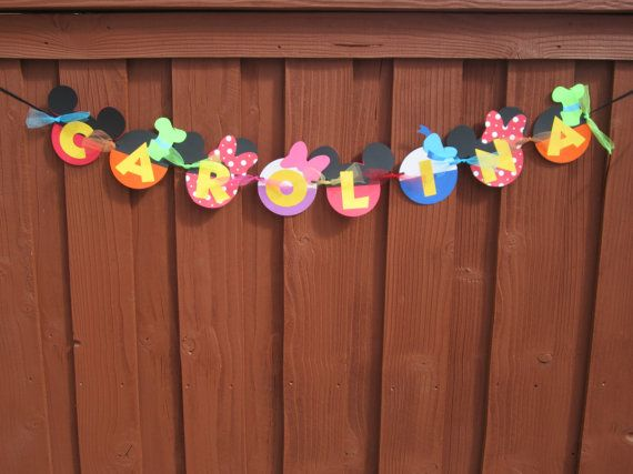 Mickey Mouse Clubhouse Birthday Banner NAME ONLY on Etsy, $20.00