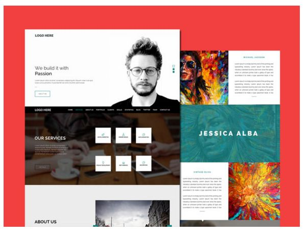 25 Free Resume PSD Website Template