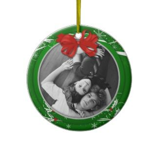 Ornament Red Green Holly Ribbon 1st Christma