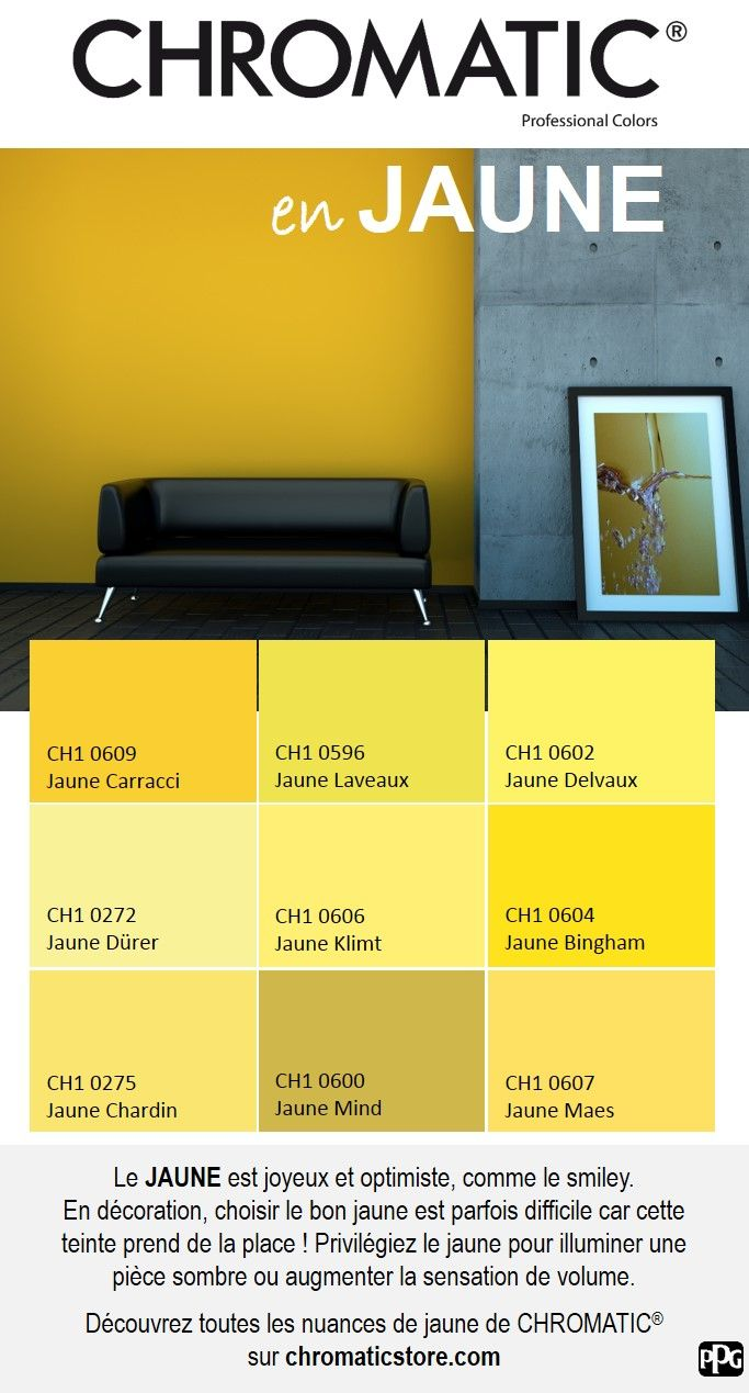 Le JAUNE est joyeux et optimiste, comme le smiley. En décoration, choisir le bon jaune est parfois difficile car cette teinte prend de la place ! Privilégiez le jaune pour illuminer une pièce sombre ou augmenter la sensation de volume. Découvrez toutes les nuances de jaune de CHROMATIC® sur chromaticstore.com #inspiration #déco #jaune