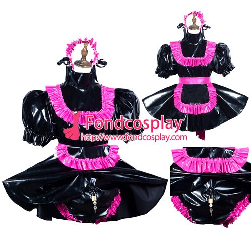 Sissy maid pvc dress lockable Uniform cosplay costume Tailor-made[G3796]