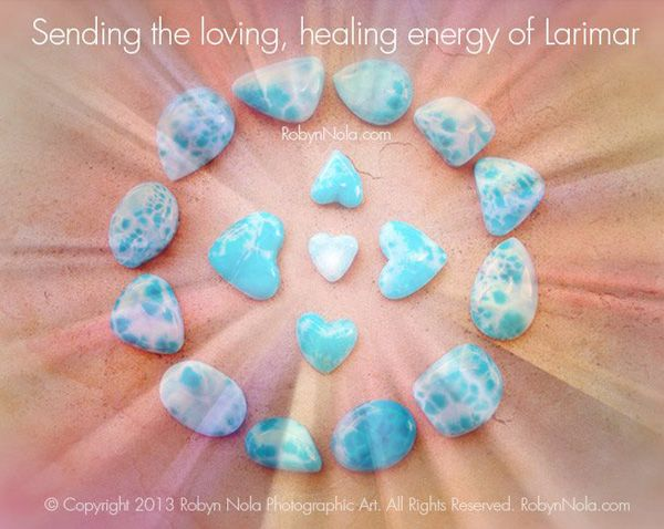 I LOVE larimar. My FAVORITE stone!! Larimar is also known as the dolphin stone, because of its watery energy, which brings the tranquility of the ocean to the heart and mind. Larimar represents peace and clarity, and it radiates healing and loving energy.