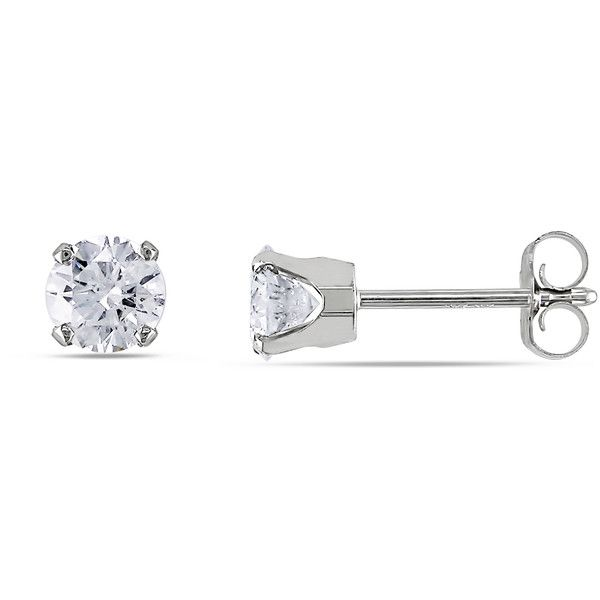 Miadora Signature Collection 14k White Gold 3/4ct TDW Certified... ($1,212) ❤ liked on Polyvore featuring jewelry, earrings, white, white stud earrings, white earrings, 14k diamond earrings, white diamond earrings and 14k white gold earrings