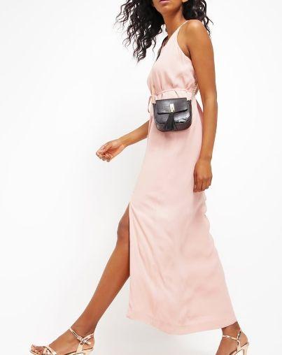 Selected Femme SFDEISA pastelowa różowa Długa sukienka rose tan