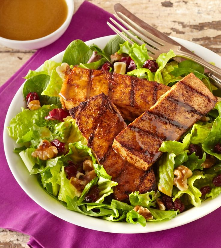 Spicy Grilled Tofu Salad with Balsamic Vinaigrette - A dairy-free, vegan, optionally gluten-free recipe created by the adorable Alexander Weiss, Season 1 winner of Masterchef Junior! @godairyfree