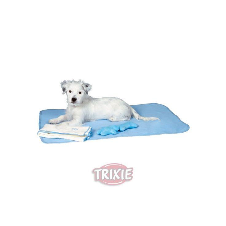 JUEGO CACHORROS AZUL, Es un juego de manta, toalla y 2 peluchitos para cachorro en color azul. http://bit.ly/1PjUyCc