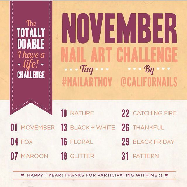 November Nail Art Challenge List | Nail art | Pinterest | Nail art ...