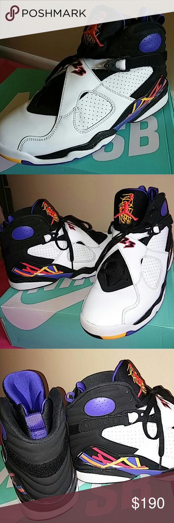 2015 Nike Air Jordan 8 Retro Peat Wht Infrd Concd. Shoes is worn ONLY 2 TIMES outdoor and that's it. Looks perfectly like Brand New. Shoes # is 305381-142. Shoes is MEN SIZE 11. Guaranteed to be 200% authentic nike product. Rated 9.9/10. Sorry i miss original box but will come in a nike replacement box. Nike Shoes Sneakers