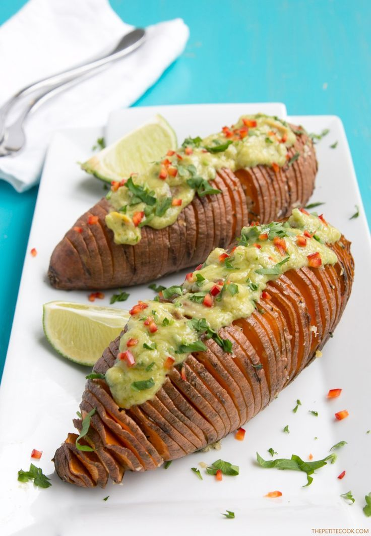 These Hasselback Sweet Potatoes with Guacamole make a great vegetarian spring or/and summer side! For vegan version substitute greek yogurt with dairy-free yogurt! Recipe from thepetitecook.com