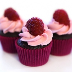 chocolate cupcakes with pink buttercream and raspberries...