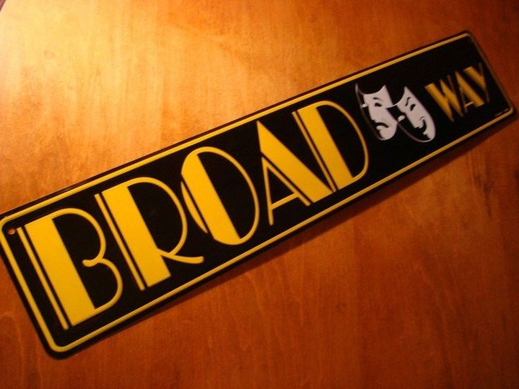 BROADWAY New York Road Street Sign with Comedy Tragedy Theater Masks Decor NEW