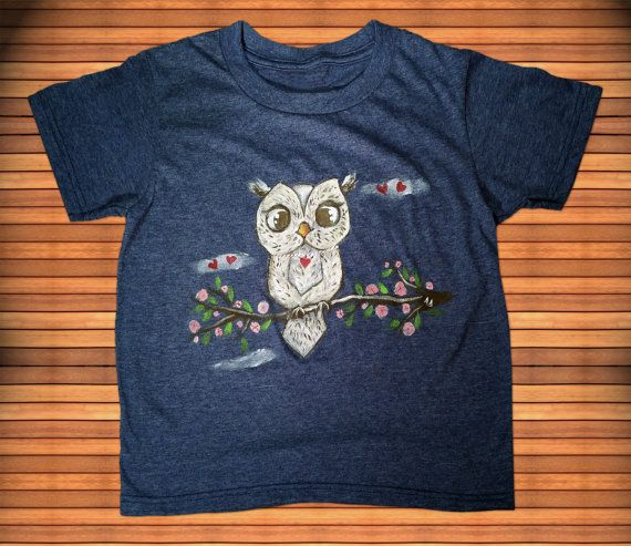 Spring Owl, Hand Painted Kid's T-Shirt, Shaman Collection, Spirit Animal, Heather Blue Round neck Shirt, Machine Washable,Free Shipping