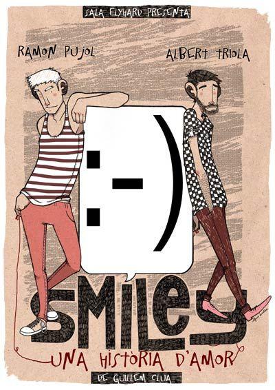 """cartel para la obra de teatro """"Smiley: una història d'amor"""", de Guillem Clua"""