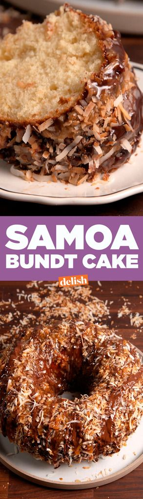 This giant Samoa Bundt Cake makes a small box of cookies look like amateur hour. Get the recipe on Delish.com.
