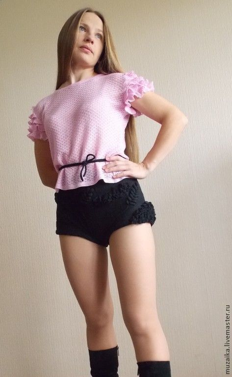 Купить Вязаные шорты - чёрный, однотонный, шорты, Шорты вязаные, теплые шорты, зимние шорты