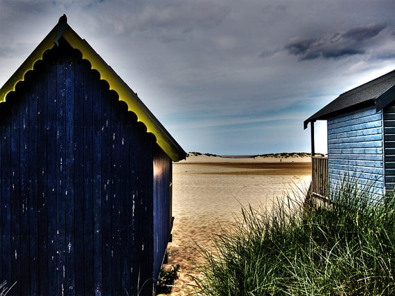 Beach Photography  Small Wooden Houses  Sand Dunes by Tim Irving,