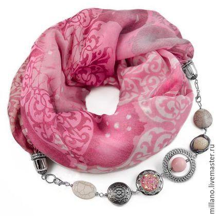 Шарфы и шарфики ручной работы. Ярмарка Мастеров - ручная работа. Купить Хлопковый Шарф ожерелье с бижутерией розовый.…