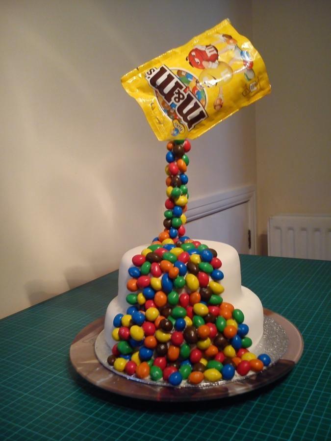 Gravity-defying M&M Cake - Cake by NooMoo